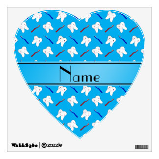Personalized name blue brushes and tooth pattern wall sticker