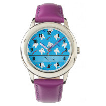 Personalized name blue brushes and tooth pattern wrist watch