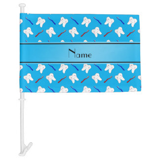 Personalized name blue brushes and tooth pattern car flag