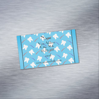 Personalized name blue brushes and tooth pattern magnetic business cards (Pack of 25)