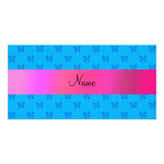 Personalized name blue butterflies photo card