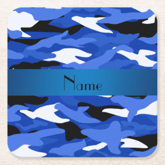 Personalized name blue camouflage blue stripe square paper coaster