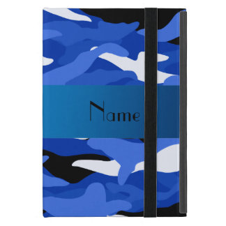 Personalized name blue camouflage iPad mini covers