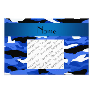 Personalized name blue camouflage photo print