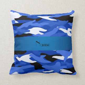 Personalized name blue camouflage pillows