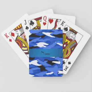 Personalized name blue camouflage playing cards