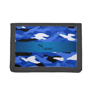 Personalized name blue camouflage trifold wallets