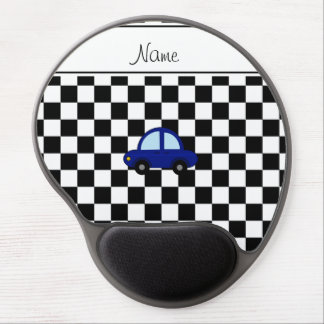 Personalized name blue car black white checkers gel mouse pads