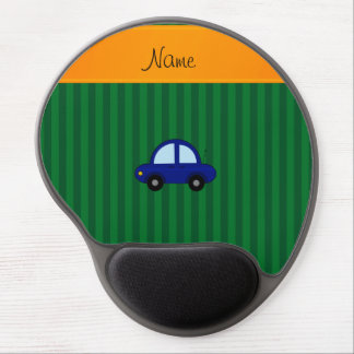 Personalized name blue car green stripes gel mousepads