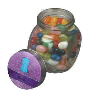 Personalized name blue cat pastel purple glitter glass jar