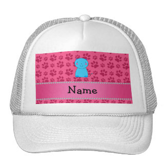 Personalized name blue cat pink paws hat