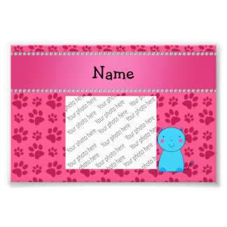 Personalized name blue cat pink paws photo art