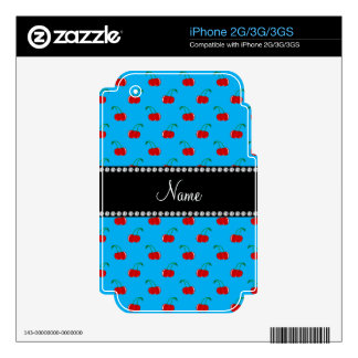 Personalized name blue cherry pattern skins for iPhone 3G