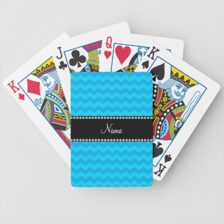 Personalized name blue chevrons bicycle playing cards