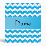 Personalized name blue chevrons binders