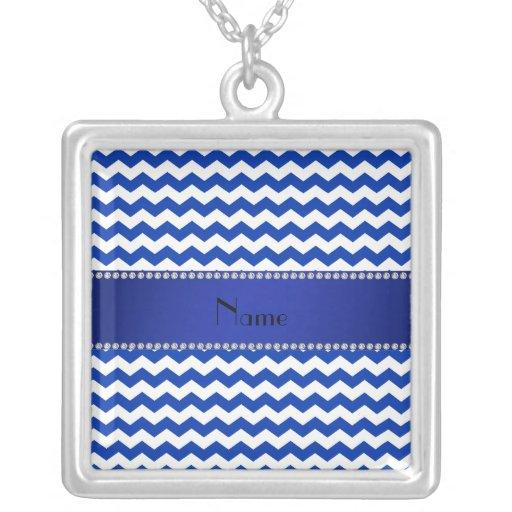Personalized name blue chevrons diamonds pendants