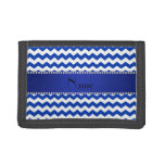 Personalized name blue chevrons diamonds tri-fold wallet