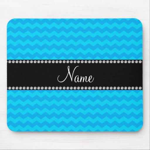Personalized name blue chevrons mouse pad