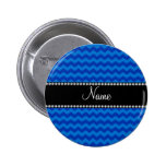 Personalized name blue chevrons pin