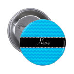 Personalized name blue chevrons pins