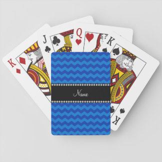 Personalized name blue chevrons playing cards