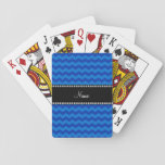 Personalized name blue chevrons poker cards