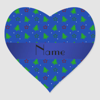 Personalized name blue christmas stars pattern heart stickers