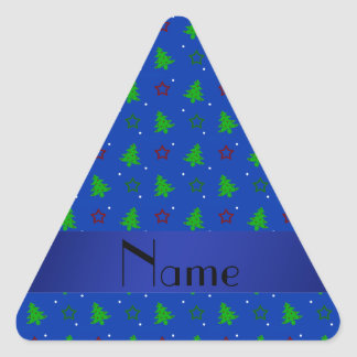 Personalized name blue christmas stars pattern triangle sticker