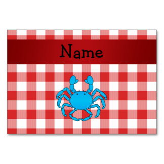 Personalized name blue crab red picnic checkers table card