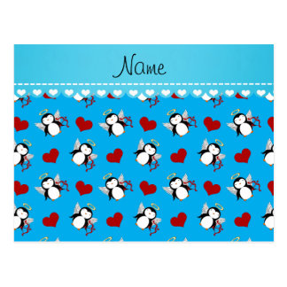 Personalized name blue cupid penguins red hearts postcard