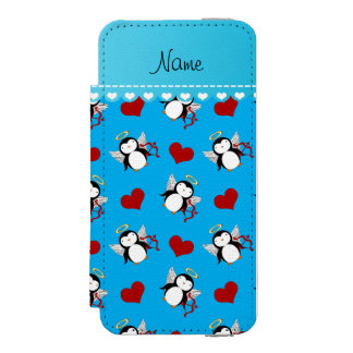 Personalized name blue cupid penguins red hearts wallet case for iPhone SE/5/5s