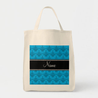 Personalized name Blue damask Tote Bag