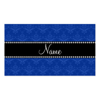 Personalized name Blue damask Business Card