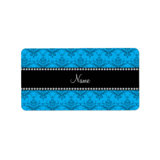 Personalized name Blue damask Personalized Address Labels