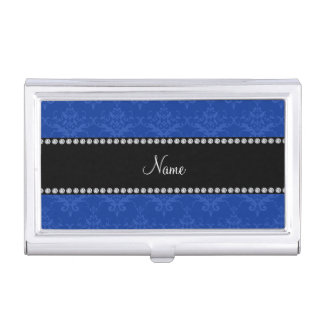 Personalized name Blue damask Business Card Holders