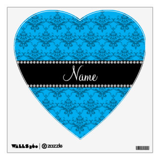 Personalized name Blue damask Room Sticker