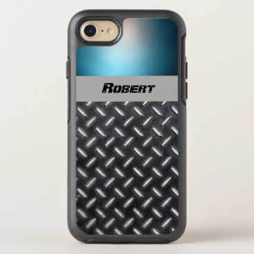 font themed Personalized Name Blue & Diamond Plate - OtterBox Symmetry iPhone 7 Case