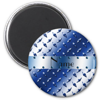 Personalized name blue diamond plate steel 2 inch round magnet