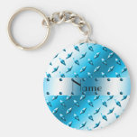 Personalized name blue diamond plate steel basic round button keychain