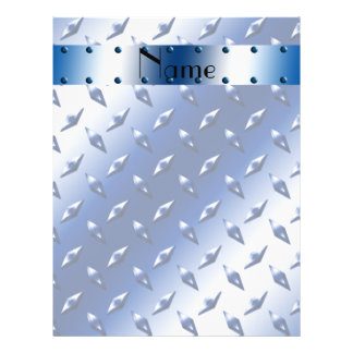 Personalized name blue diamond plate steel personalized flyer