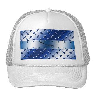 Personalized name blue diamond plate steel trucker hats