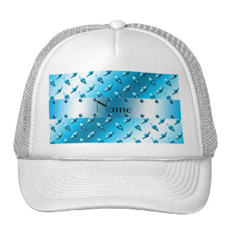 Personalized name blue diamond plate steel hats