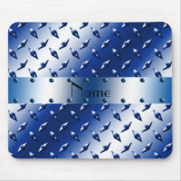 Personalized name blue diamond plate steel mouse pad
