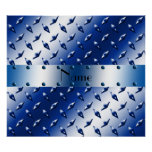 Personalized name blue diamond plate steel poster