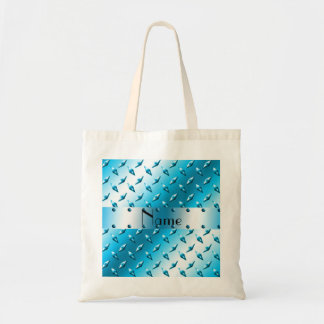 Personalized name blue diamond plate steel tote bag
