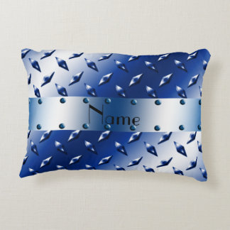 Personalized name blue diamond steel plate accent pillow