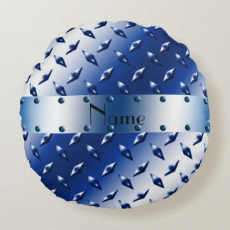 Personalized name blue diamond steel plate round pillow