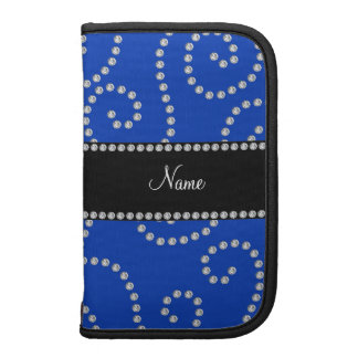 Personalized name blue diamond swirls planners