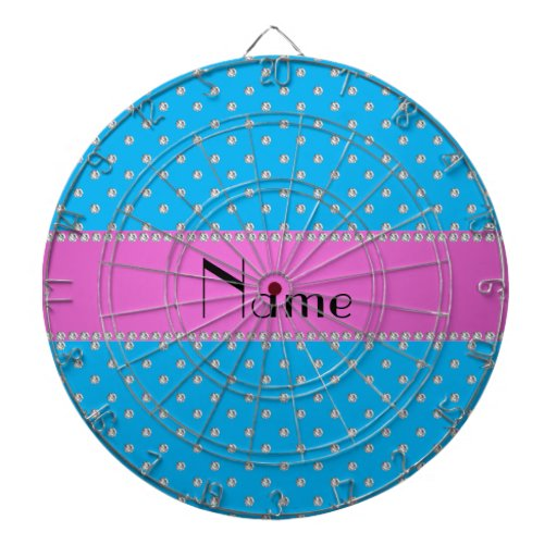 Personalized name blue diamonds dart boards
