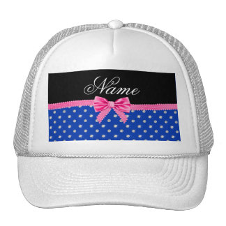 Personalized name blue diamonds pink bling bow trucker hats